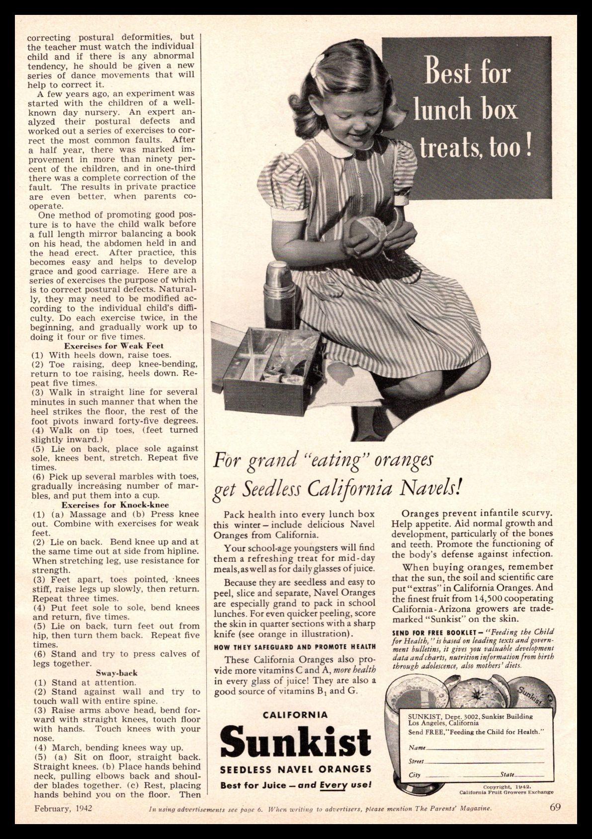 Vintage 1942 Sunkist Lemons Ad